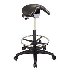 Work Smart Backless Vinyl Stool with Saddle Seat and Seat Angle Adjustment - Black