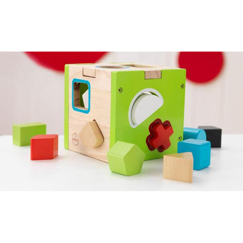 Early Childhood Development Wooden Colorful Shape Sorting Cube Includes 10 Wooden Blocks