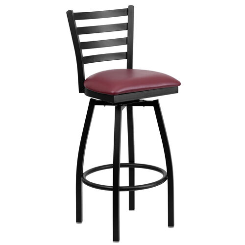 Our Black Metal Ladder Back Restaurant Barstool with Burgundy Vinyl Swivel Seat is on sale now.