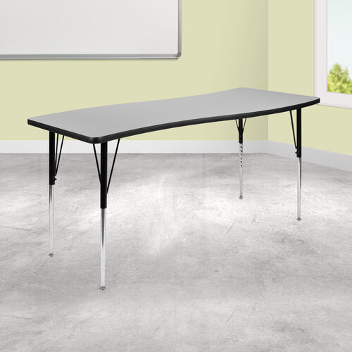 """26""""W x 60""""L Rectangular Wave Collaborative Grey Thermal Laminate Activity Table - Standard Height Adjustable Legs"""