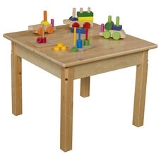 Solid Hardwood Table with Rounded Child Safe Corners and Non-Toxic Natural Finish-Square - 24