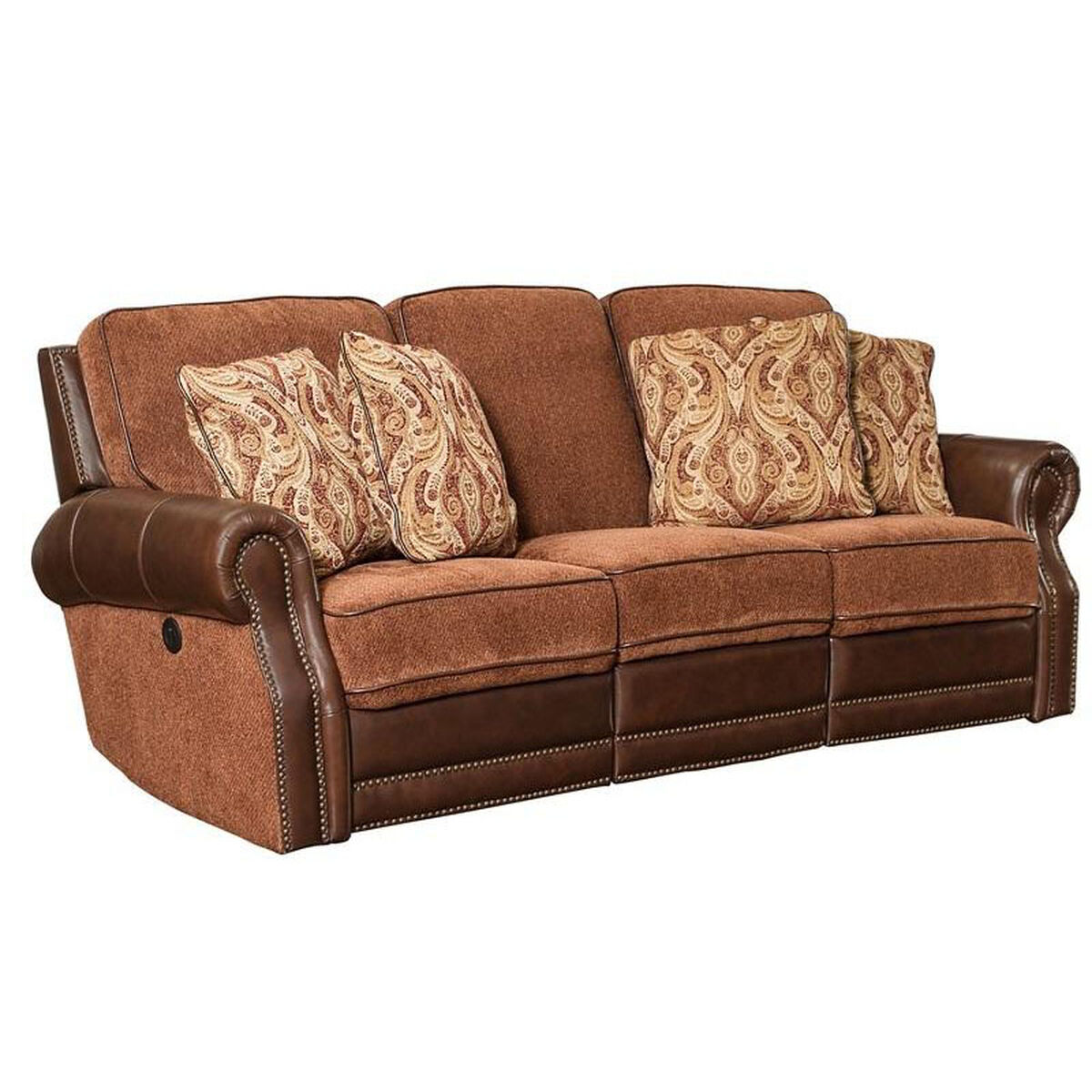 Our Jefferson Leather And Chenille Sofa Yadkin Bark Is On Now