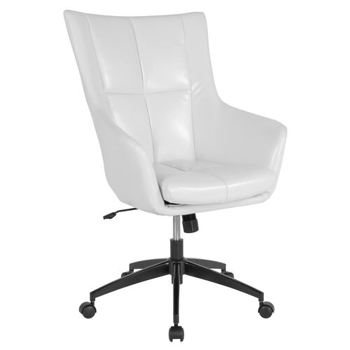Our Barcelona Home and Office Upholstered High Back Chair in White Leather is on sale now.
