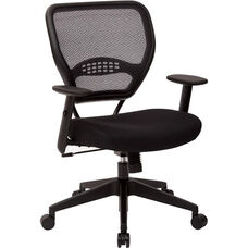 Space Professional Air Grid Back Managers Chair with Mesh Seat and 2-to-1 Synchro Tilt Control - Black