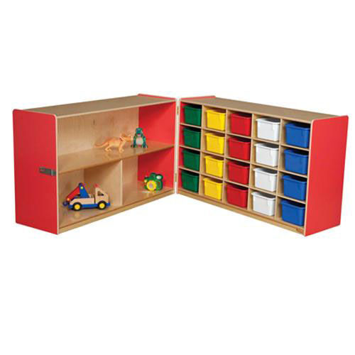 Our Half & Half Red Storage Shelf Unit with Rolling Casters and Twenty Multi-Colored Cubby Trays - 96