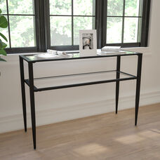 Newport Collection Glass Console Table with Shelves and Black Metal Frame