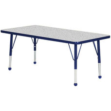 Adjustable Standard Height Laminate Top Rectangular Activity Table - Nebula Top with Navy Edge and Legs - 36