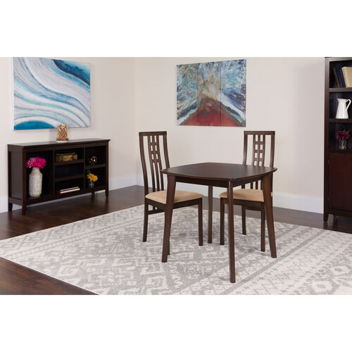 Our Weston 3 Piece Espresso Wood Dining Table Set with High Triple Window Pane Back Wood Dining Chairs - Padded Seats is on sale now.