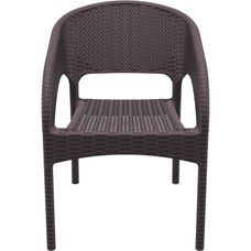 Panama Outdoor Wickerlook Resin Stackable Dining Arm Chair - Brown