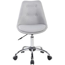Techni Mobili Armless Task Chair with Tufted Buttons and Chrome Base - Gray