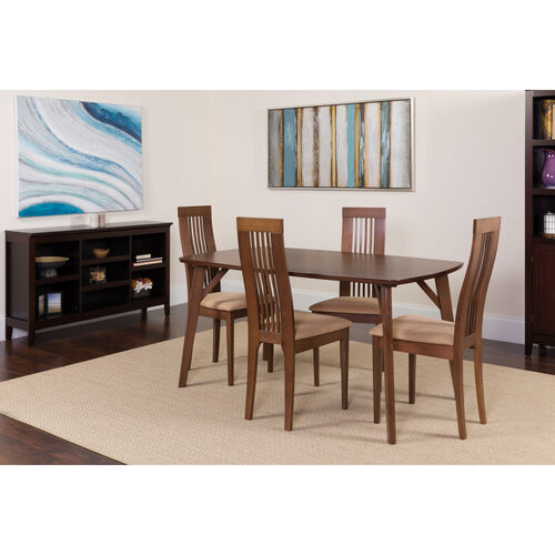Our Clybourne 5 Piece Walnut Wood Dining Table Set with Framed Rail Back Design Wood Dining Chairs - Padded Seats is on sale now.