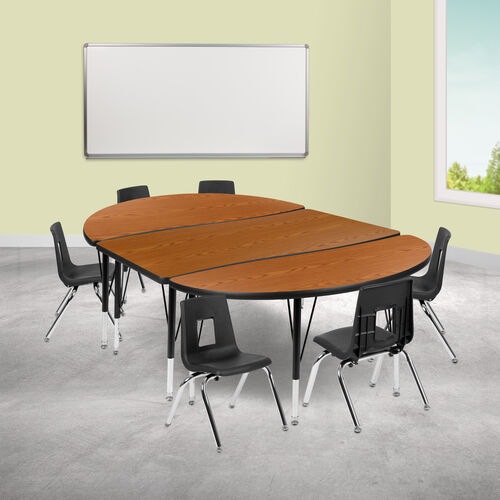 """76"""" Oval Wave Collaborative Laminate Activity Table Set with 12"""" Student Stack Chairs, Oak/Black"""