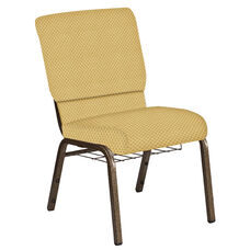 Embroidered 18.5''W Church Chair in Canterbury Taupe Fabric with Book Rack - Gold Vein Frame