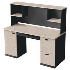 Hampton Credenza and Hutch with Filing Drawer and Keyboard Shelf - Sand Granite and Charcoal