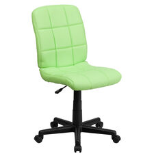 Mid-Back Green Quilted Vinyl Swivel Task Chair