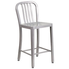 """Commercial Grade 24"""" High Silver Metal Indoor-Outdoor Counter Height Stool with Vertical Slat Back"""