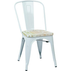 OSP Designs Bristow Metal Chair with Wood Seat - 4-Pack - White and Vintage Pine Irish