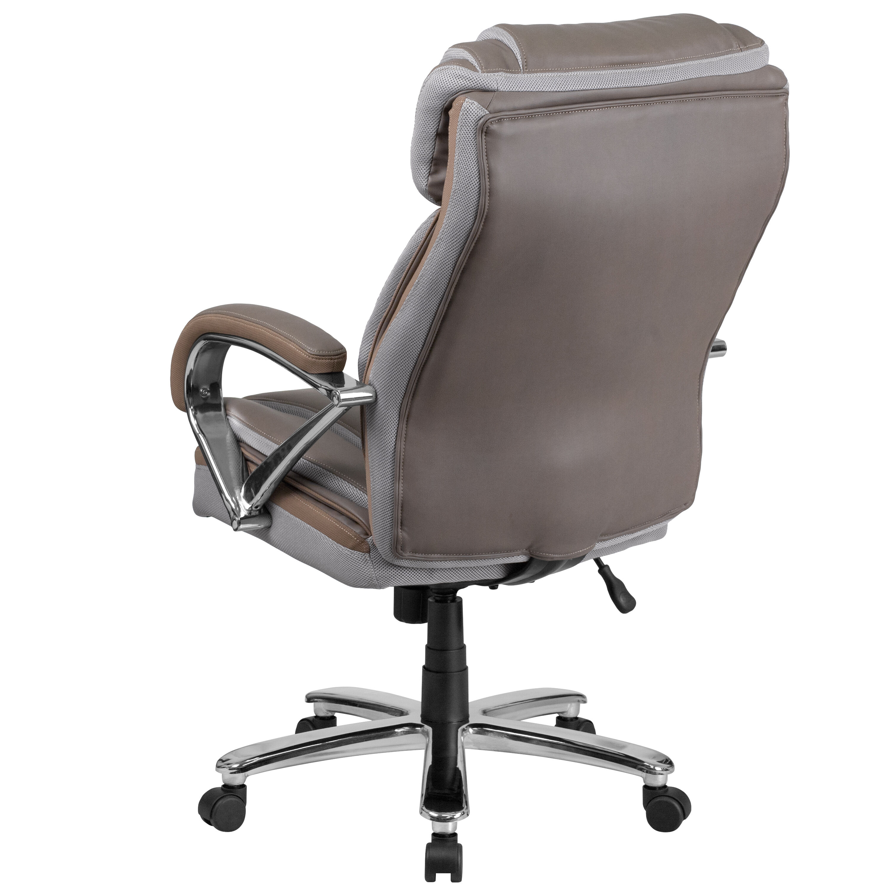 Superbe Rated Taupe Leather Executive Swivel Chair With ...