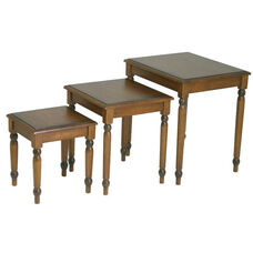 OSP Designs Knob Hill 3-Piece Wood Nesting Tables - Cherry