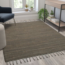 5' x 7' Handwoven Jute and Cotton Blend Area Rug with Braided Tassels in Black and Jute