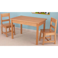 Kids Three Piece Wooden Rectangle Table and Two Matching Chairs Set - Natural