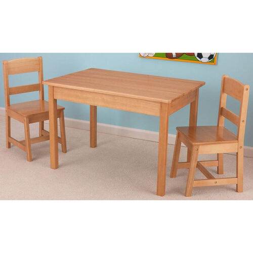 Our Kids Three Piece Wooden Rectangle Table and Two Matching Chairs Set - Natural is on sale now.