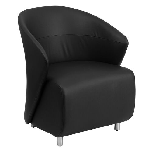 Our Black Leather Curved Barrel Back Lounge Chair is on sale now.