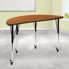 """Mobile 47.5"""" Half Circle Wave Collaborative Oak Thermal Laminate Activity Table - Standard Height Adjustable Legs"""