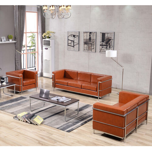 """Our HERCULES Regal Series Reception Set in Cognac LeatherSoft with <span style=""""color:#0000CD;"""">Free </span> Tables is on sale now."""
