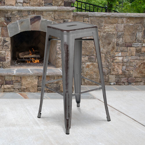 """Our Commercial Grade 30"""" High Backless Distressed Silver Gray Metal Indoor-Outdoor Barstool is on sale now."""