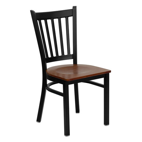 Our Black Vertical Back Metal Restaurant Chair with Cherry Wood Seat is on sale now.