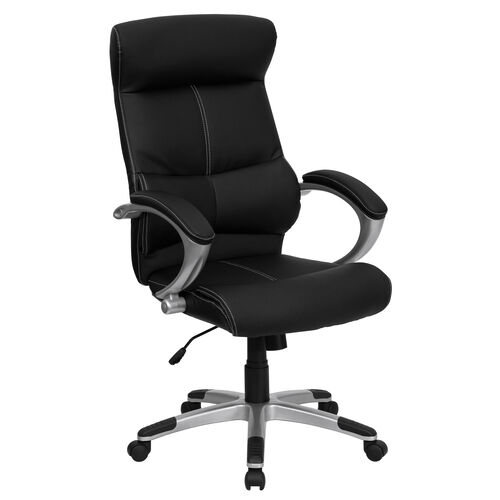 High Back Black LeatherSoft Executive Swivel Office Chair with Curved Headrest and White Line Stitching