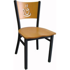 Wood Back with Cup Cutout Armless Metal Dining Chair - Natural Finish