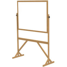 Reversible Double Sided Non-Magnetic White Board with Wooden Frame - 55