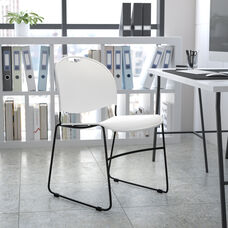 HERCULES Series 880 lb. Capacity White Ultra-Compact Stack Chair with Silver Powder Coated Frame