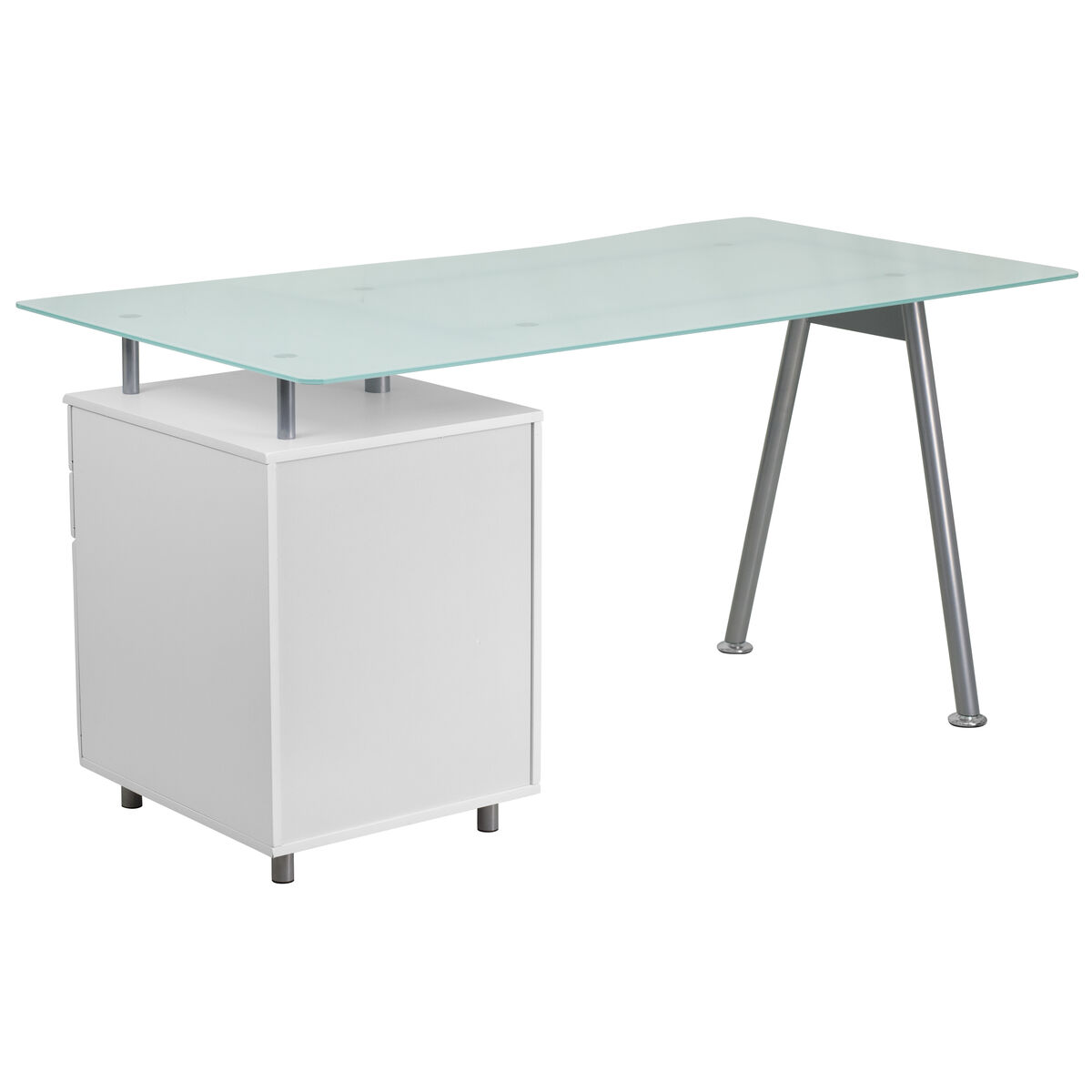 Our White Computer Desk With Glass Top And Three Drawer Pedestal Is On Now