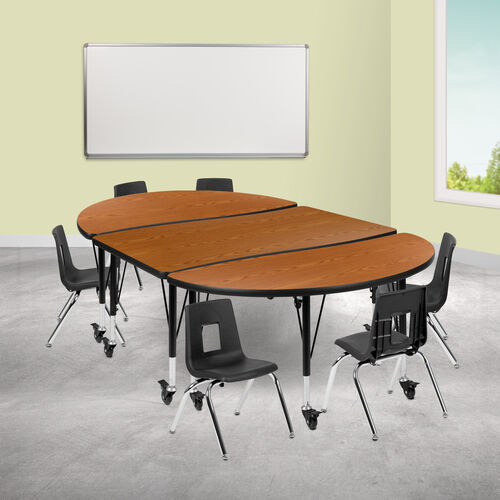 """Mobile 76"""" Oval Wave Collaborative Laminate Activity Table Set with 12"""" Student Stack Chairs, Oak/Black"""