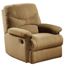 Arcadia Transitional Style Microfiber Glider Recliner with Hand Latch - Light Brown