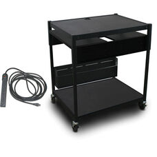 Spartan Series Adjustable Media Projector Cart with Two Pull-Out Side-Shelves and Eight Outlet Electrical Unit - Black