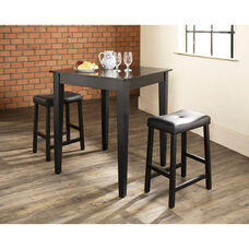 3 Piece Pub Dining Set with Tapered Leg and Upholstered Saddle Stools - Black Finish