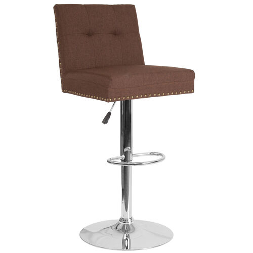 Our Ravello Contemporary Adjustable Height Barstool with Accent Nail Trim in Brown Fabric is on sale now.