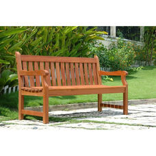 Malibu Outdoor Patio 5' Wood Garden Bench with Arms and Contour Slat Seat
