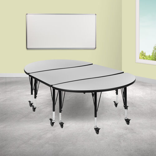 """3 Piece Mobile 76"""" Oval Wave Collaborative Grey Thermal Laminate Activity Table Set - Height Adjustable Short Legs"""