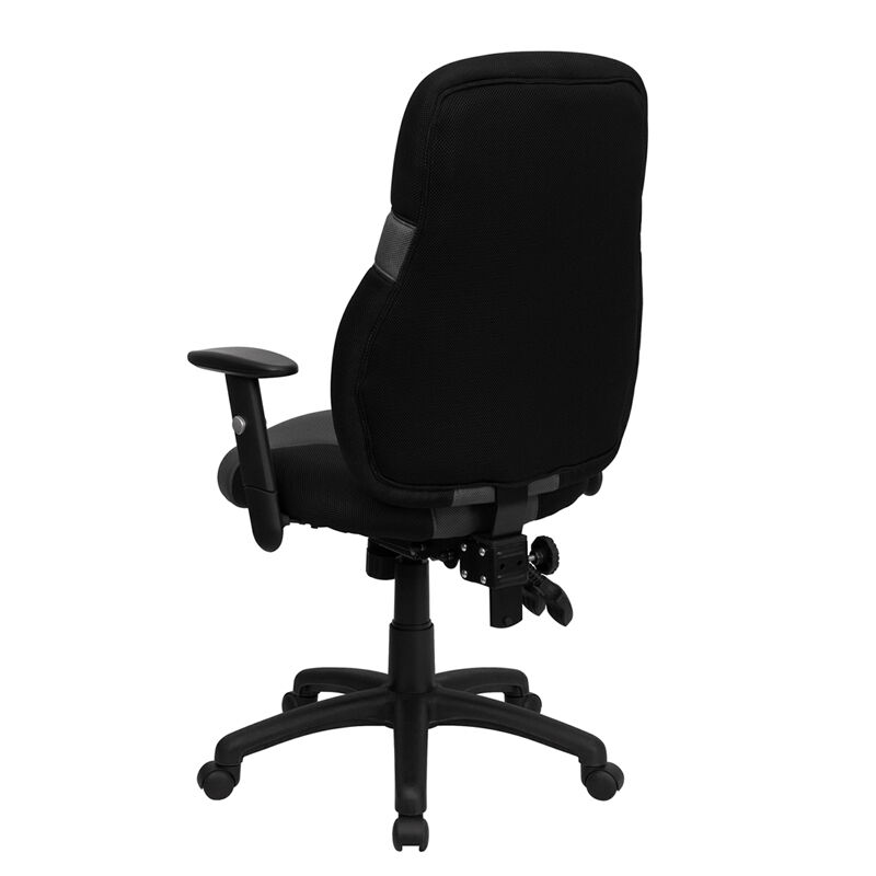 ... Our High Back Ergonomic Black And Gray Mesh Swivel Task Chair With  Adjustable Arms Is On ...
