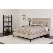 Roxbury Full Size Tufted Upholstered Platform Bed in Beige Fabric with Memory Foam Mattress