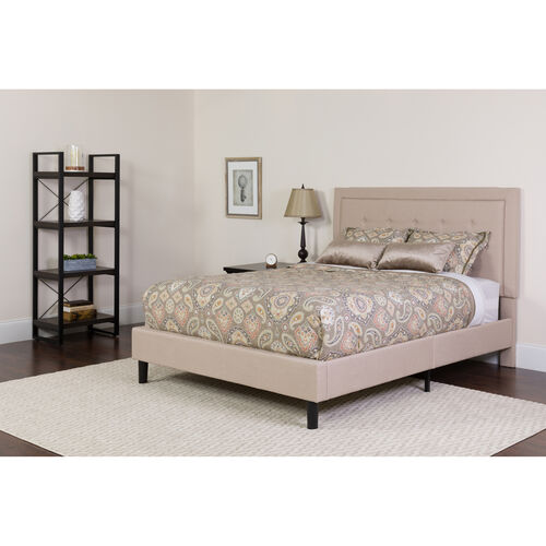 Our Roxbury Full Size Tufted Upholstered Platform Bed in Beige Fabric with Memory Foam Mattress is on sale now.