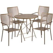 """Commercial Grade 30"""" Round Gold Indoor-Outdoor Steel Folding Patio Table Set with 4 Square Back Chairs"""