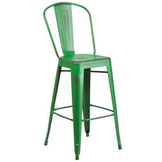 """Commercial Grade 30"""" High Distressed Green Metal Indoor-Outdoor Barstool with Back"""