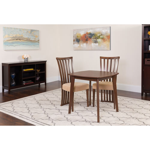 Westerly 3 Piece Walnut Wood Dining Table Set With Dramatic Rail Back Design Chairs