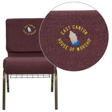 Plum Fabric with Gold Vein Metal finish